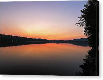 Canvas Print featuring the photograph New Hampshire Back Lake Sunset by Juergen Roth