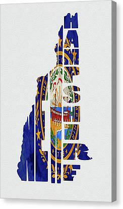 New Hampshire Typography Map Flag Canvas Print by Kevin O'Hare