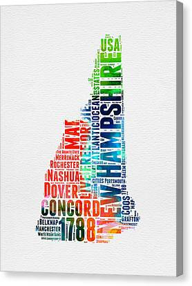 New Hampshire Watercolor Word Map Canvas Print by Naxart Studio