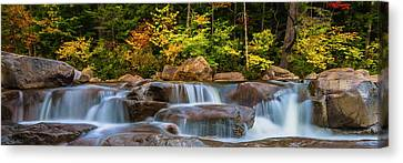 New Hampshire White Mountains Swift River Waterfall In Autumn With Fall Foliage Canvas Print