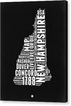 New Hampshire Word Cloud Black And White Map Canvas Print by Naxart Studio