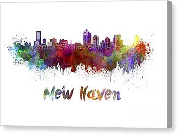 New Haven Skyline In Watercolor Canvas Print by Pablo Romero