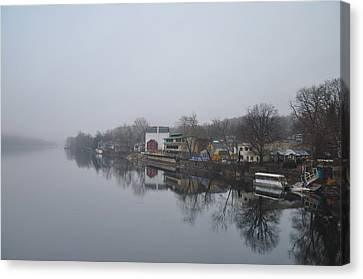 New Hope River View On A Misty Day Canvas Print by Bill Cannon