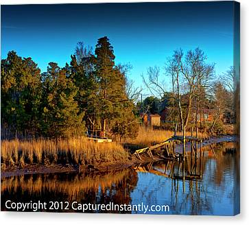 Kevin Hill Canvas Print - New Jersey River Bank by Kevin Hill