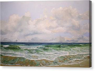 Canvas Print featuring the painting New Jersey Surf by Ken Ahlering