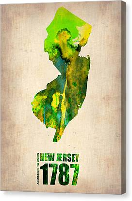 New Jersey Watercolor Map Canvas Print