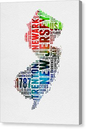 New Jersey Watercolor Word Cloud  Canvas Print