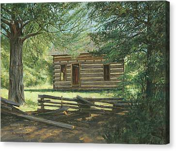New Log Cabin Canvas Print by Don  Langeneckert