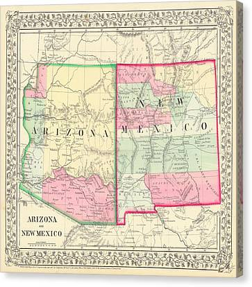 New Mexico And Arizona Map Print From 1867 Canvas Print by Marianna Mills