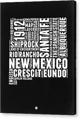 New Mexico Black And White Word Cloud Map Canvas Print by Naxart Studio