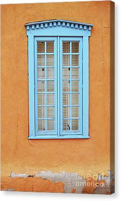 Canvas Print featuring the photograph New Mexico Blue Window by Andrea Hazel Ihlefeld