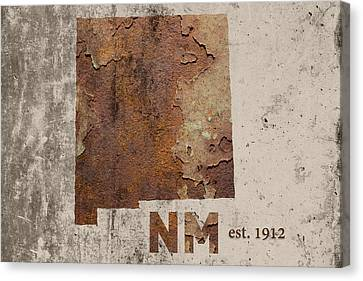 New Mexico State Map Industrial Rusted Metal On Cement Wall With Founding Date Series 047 Canvas Print by Design Turnpike