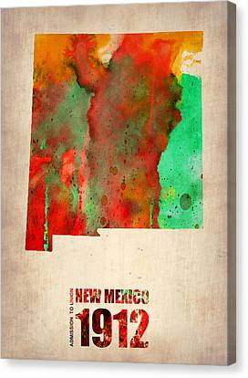 World Map Canvas Print - New Mexico Watercolor Map by Naxart Studio