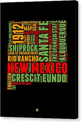 New Mexico Word Cloud Map 1 Canvas Print by Naxart Studio