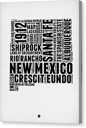 Mexico Canvas Print - New Mexico Word Cloud Map 2 by Naxart Studio