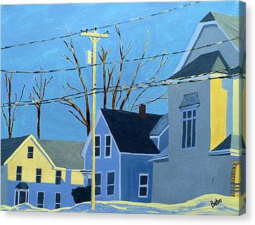 New Mills Winter Canvas Print by Laurie Breton