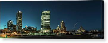 Canvas Print featuring the photograph New Milwaukee Skyline by Randy Scherkenbach