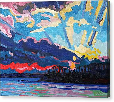 New Moon Sunset Canvas Print by Phil Chadwick