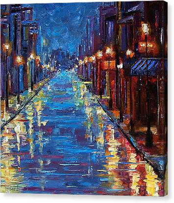 Night Canvas Print - New Orleans Bourbon Street by Debra Hurd
