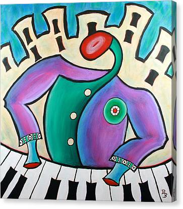 Canvas Print featuring the painting New Orleans Cool Jazz Piano by Bob Baker