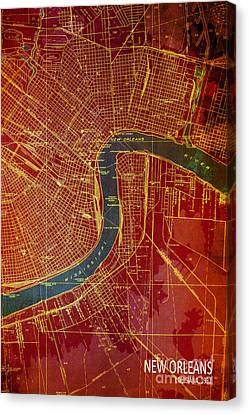 Antique Map Canvas Print - New Orleans Old Map 1932 by Pablo Franchi
