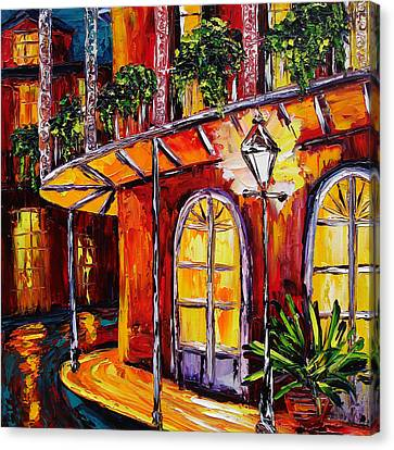 New Orleans Original Oil Painting French Quarter Glow Canvas Print by Beata Sasik