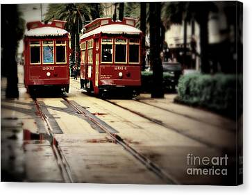 New Orleans Red Streetcars Canvas Print by Perry Webster