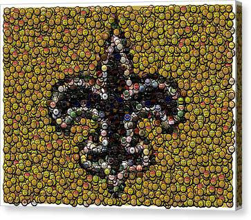 New Orleans Saints  Bottle Cap Mosaic Canvas Print by Paul Van Scott