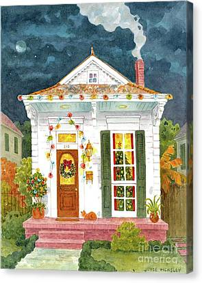Christmas Eve Canvas Print - New Orleans Shotgun At Christmas by Joyce Hensley