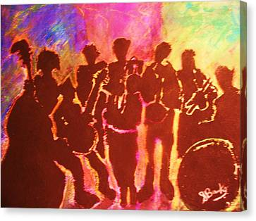 New Orleans Street Band At Sunset Canvas Print by Samuel Banks