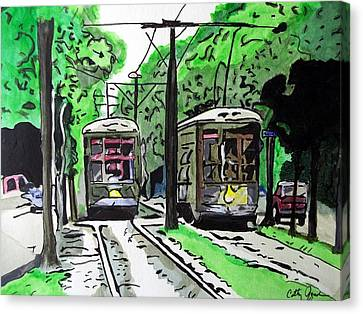 New Orleans Street Cars Canvas Print by Cathy Jourdan