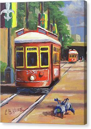 New Orleans Streetcar Canal St. Canvas Print by CB Hume