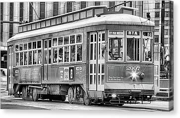 New Orleans Streetcar In Black And White Canvas Print