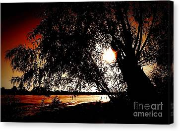 Shoreline Old Men Canvas Print - New Orleans Sunset On The Mississippi River by Michael Hoard