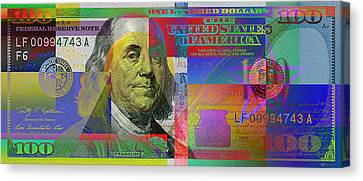 New Pop-colorized One Hundred Us Dollar Bill Canvas Print by Serge Averbukh