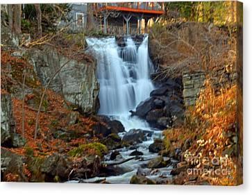 New Preston Falls In The Fall Canvas Print by Linda Troski