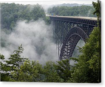 Foggy Day Canvas Print - New River Gorge Bridge On A Foggy Day In West Virginia by Brendan Reals