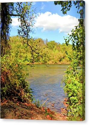 Canvas Print featuring the photograph New River Views - Bisset Park - Radford Virginia by Kerri Farley