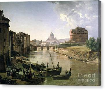 New Rome With The Castel Sant Angelo Canvas Print by Silvestr Fedosievich Shchedrin