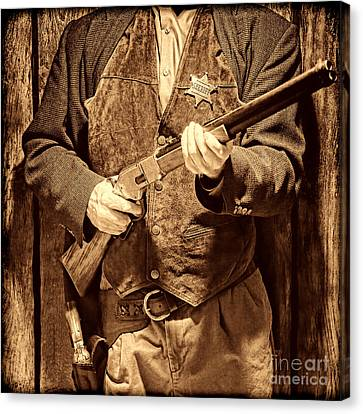New Sheriff In Town Canvas Print by American West Legend By Olivier Le Queinec
