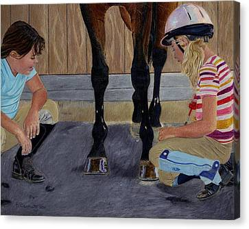 New Shoe Review Horse And Children Painting Canvas Print by Patricia Barmatz