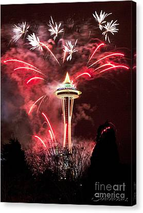 New Years At The Space Needle Canvas Print