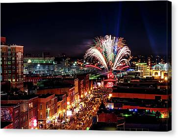 New Year's Eve In Nashville Canvas Print by Garret Hill