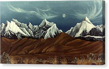 New Years Moon Over Cojata Peru Canvas Print