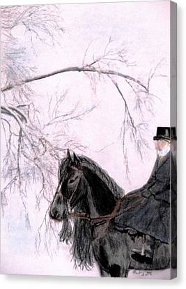 Friesian Horse Canvas Print - New Year's Resolution by Angela Davies
