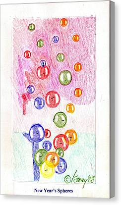 Canvas Print featuring the drawing New Year's Spheres by Rod Ismay