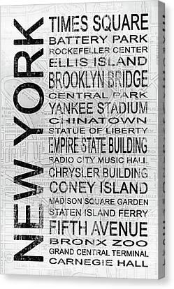 New York 1 White Subway Canvas Print by Melissa Smith