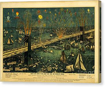 Canvas Print featuring the photograph New York And Brooklyn Bridge Opening Night Fireworks by John Stephens