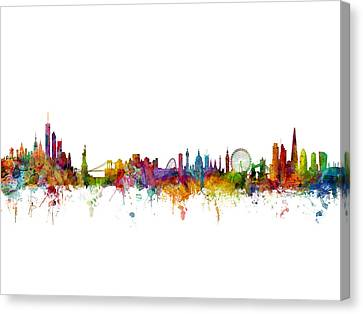 New York And London Skyline Mashup Canvas Print by Michael Tompsett