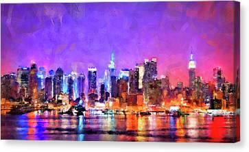 New York At Night - 01 Canvas Print